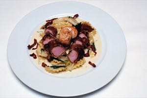 Rabbit in Parma Ham with Scallops on Taglioni