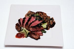Tea Smoked Duck Breast with Bok Choy and Asian Mushroom Pancakes