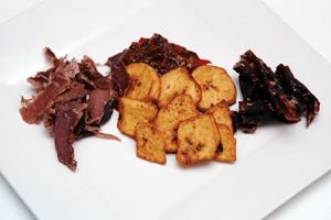 Plantain Chips served with various meats