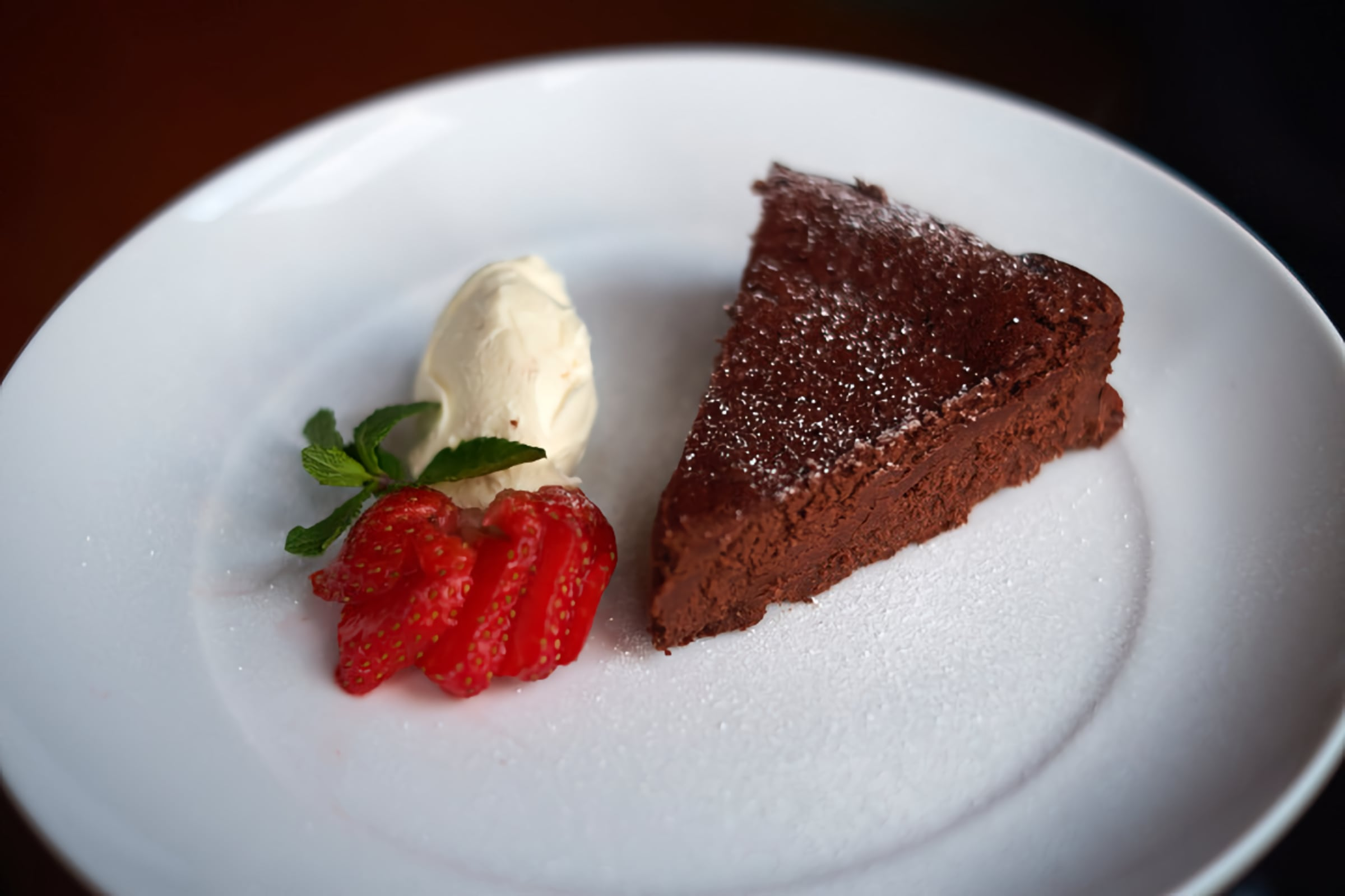Flourless Chocolate Whisky Cake, served with creme fraiche