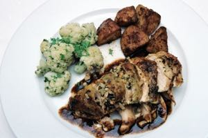 Spanish Roast Chicken with Almond and Pine Nut Breast
