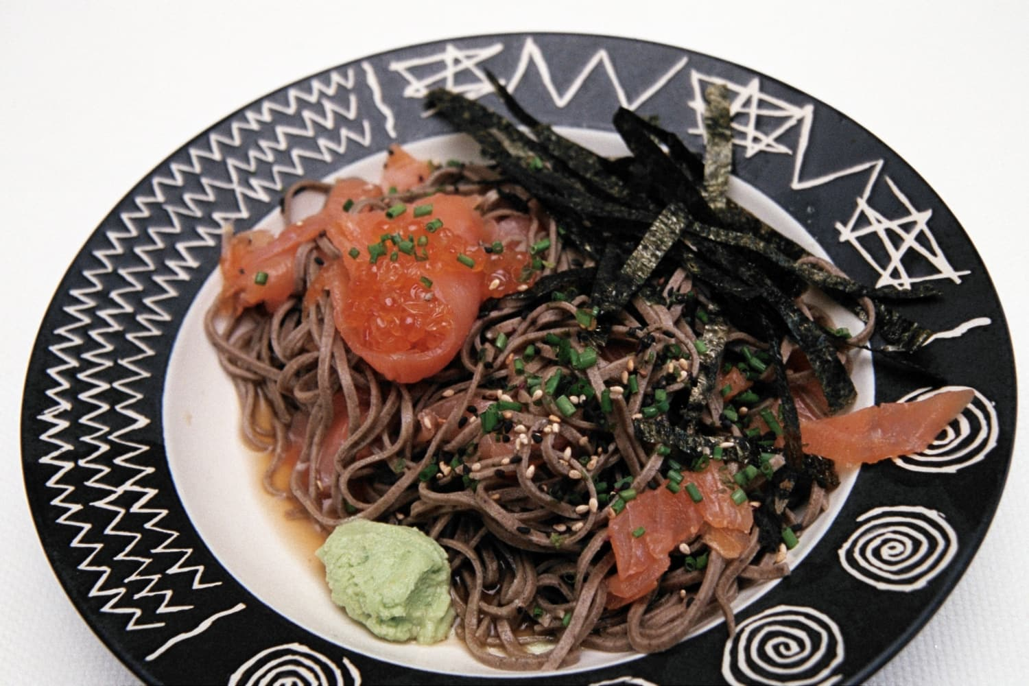 Soba Noodles with Smoked Salmon and Keta
