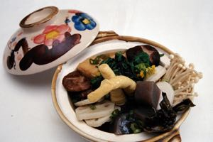 Sansai Nabe for Two: Pot Cooked Vegetables and Bean Curd