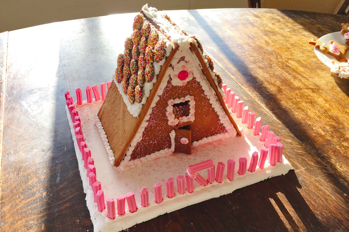 Gingerbread House decorated and ready to be eaten.