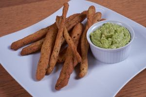 Raw Broad Bean Dip served with home made Grissini.
